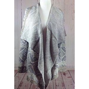 Gray Geo Print Open Cardigan Sweater Medium